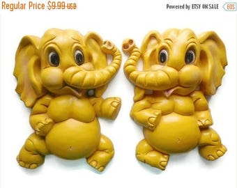 40% OFF NOW Homco Bright Yellow Elephant Wall Plaque Pair, Nursery Decor Plaques, Children's Room Decor, Kitsch Elephants, Resin Plaques, Up