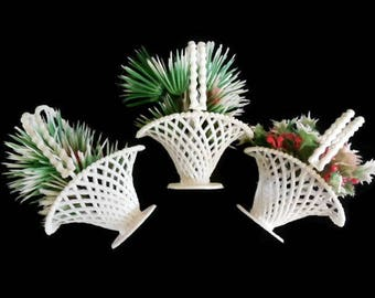 Set of 8 Plastic Christmas Table Favor Baskets, Christmas Party Favor Baskets, Table Decor, Holiday Craft Supply, Kitsch Plastic Baskets