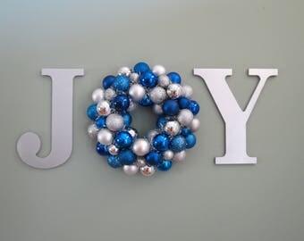 Hanukkah Christmas Wreath Ornament WREATH in a WORD  JOY Wall Decor Blue and Silver