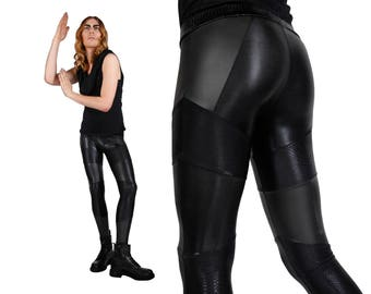 Men's Patchwork Leggings, Meggings, Burning Man, Black Spandex Pants, Menswear, Dance Costume, Festival Clothing, by LENA QUIST