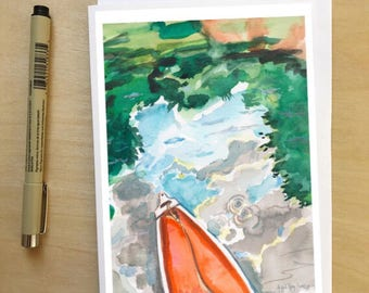 Canoeing, 5x7 card, Ready to Ship