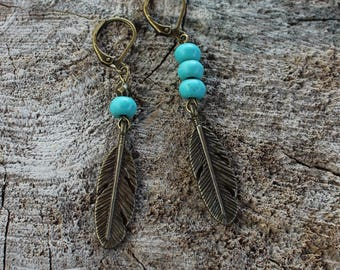 BO-676 Boucles d'oreilles plume en métal // Brass feather earrings