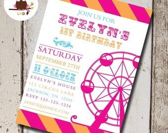 Circus Themed Party | Circus Party | Circus Invitation | 1st Birthday Invitations | Carnival Theme Party | Carnival Invitation