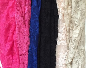 Lace Fabrics, Assorted Lace, Black, Tan, Pink, Blue