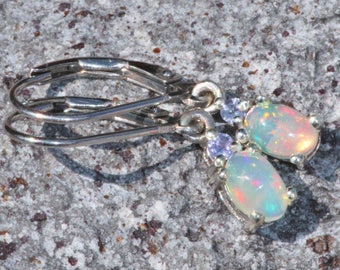 GENUINE Welo Opal & Tanzanite Dangle Earrings,Dainty Ethiopian Opal Drop Earrings,Sterling Silver,Flashy,Gift For Her,Natural,Birthstone