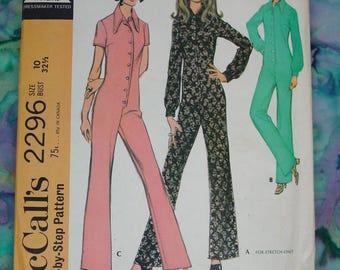Vintage Pattern c.1970 McCall's No.,2296 Jumpsuit Size 10 Bust 32 1/2 Uncut