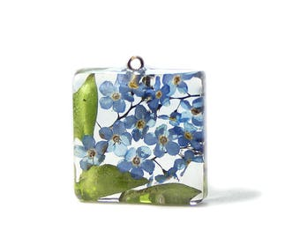 Forget Me Not Jewelry - Real Flower Jewelry - Necklace Charm - Resin Pendant  - Handmade Jewelry - Real Flower Jewelry -
