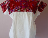 """Chiapas Mexican embroidered blouse huipil Highland Maya - El Bosque reds cross stitch boho resort Frida Kahlo Style - 24""""W x 27""""L"""