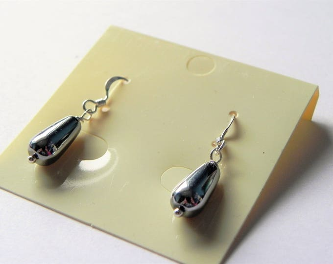 Silver colour coated hematite drop sterling silver earrings