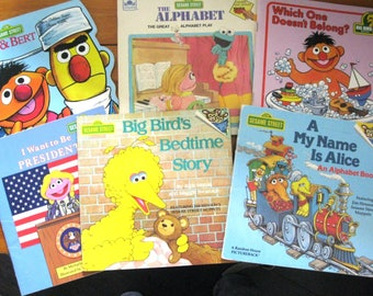 Six Vintage Sesame Street Books/Big Bird's Bedtime/My Name is Alice/The Ernie & Bert Book/I Want to be President