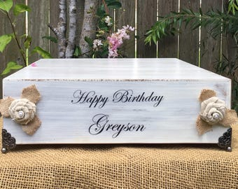 "14"" Wedding Cake Stand - Personalized Cake Stand - Shiplap Cake Stand - Wooden Cake Stand -  Rustic Cake Stand - Birthday Cake Stand"