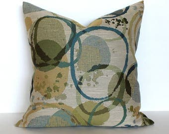 Teal Green Gold Pillow Cover Upholstery Fabric Throw Pillow Cover Decorative Pillow Accent Cushion Cover 26x26 24x24 22x22 20x20 18x18 16x16