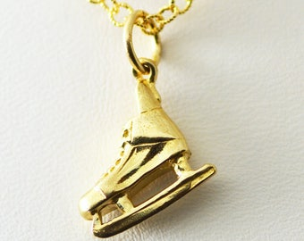 14k Yellow Solid Gold Ice Hockey Skate Charm