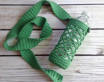 Green Water Bottle Holder, Bottle Holder, Water Bottle Sling, Water Holder, Cotton Water Bottle Cozy, Crochet Bottle Holder