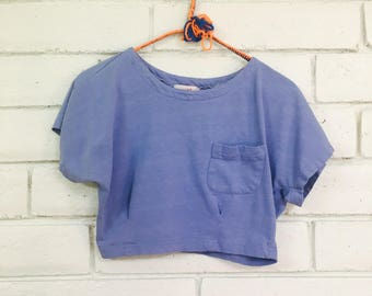 80's PERIWINKLE CROPPED TEE vintage fitted crop top tshirt xS
