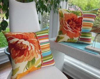 Outdoor Flower Pillow - Trellis Pillow - Golden Yellow Pillow - Orange Pillow - Patio Pillow - Stripe Pillow - Porch Pillow - Outdoor Pillow