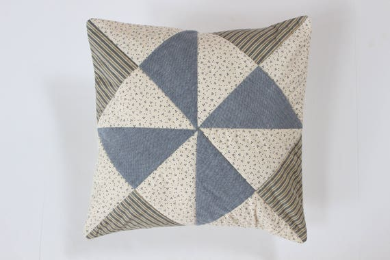Quilted Ticking Stripe, Chambray Pinwheel Pillow Cover