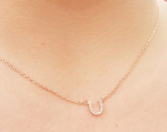Dainty necklace, choker necklace, tiny horseshoe necklace, layering necklace, minimal necklace, rose gold jewelry, gift for her, Christmas