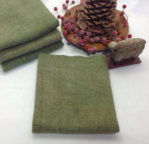 Fat 1/4, Wintergreen Hand Dyed Wool Fabric for Rug Hooking & Applique, W401, Soft Green, Soothing Green, Medium Green