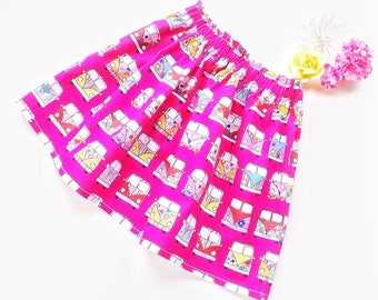 Girls skirt, 100% cotton campervan elasticated waist skirt, unique birthday outfit for little girl, special occasion clothing for young girl