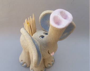 Elephant  toothpick holder, clay elephants cute elephants, hand made, hand sculpted, original by Pencepets, Pence animal sculptures