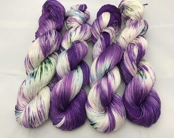 Carrie Cotton Fingering, Hand Dyed Yarn, Fingering Weight, Pima Cotton, cotton yarn, hand dyed cotton, Blueberry Mojito
