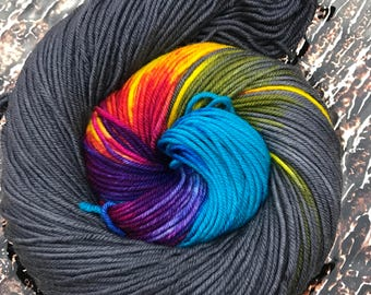 Trevor Morgan DK, DK, Superwash Merino, 100 grams, Hand Dyed Yarn, Grey Bonfire, double knitting,