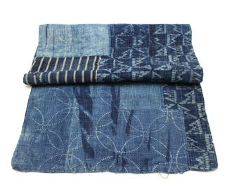 Antique Japanese Boro. layered Patched Folk Textile. Indigo Ikat Katazome and Aizome  (Ref: 1893)
