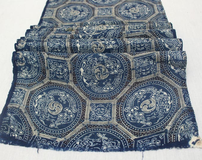 Antique Indigo. Hand Loomed Japanese Katazome Cotton. Aizome. Antique Floral Geometric Stencil Design (Ref: 1851)