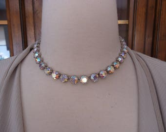 Vintage Prong Set AB Rhinestone Choker w/ Rhinestone Hook Clasp, Silver Tone Metal, Circa 1950s to 60s, Hollywood Glamour