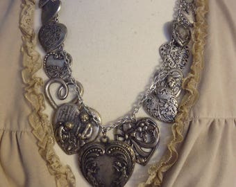 "Vintage Antiqued Silver Tone 24"" Heart Charm/Pendant Necklace, Romance Theme, Victorian Inspired Jewelry"