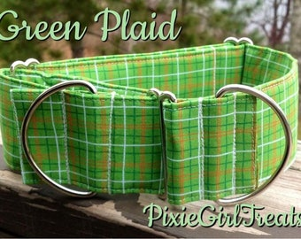 LAST ONE! Green Dog Collar, Plaid Dog Collar, Dog Collar, Summer Dog Collar, Preppy Dog Collar, Dog Collar for Boy, Boy Dog Collar,