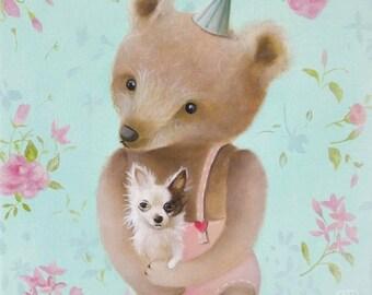 On Sale Teddy Bear PRINT, nursery illustration, Woodland animal theme, Nursery Bear decor, Realism wall decor Nursery wall art, Boy Girl roo