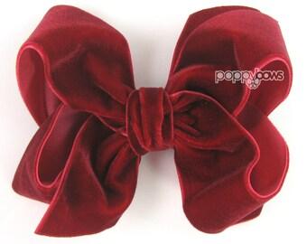 """Cranberry Red velvet hair bow, 4"""" hair bow, Christmas hair bow, Deep Red girls hair bows, baby hair bow, velvet hair clip, 4 inch large big"""