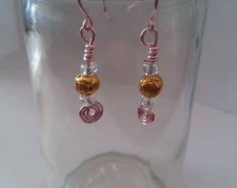 Gold Rose Bead Dangle Earrings