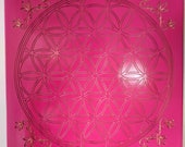 "RESERVED For EVA Fuschia Pine Wood Crystal Grid - 11  ""  Flower of Life - Sacred Geometry - Crystal Healing - Grid Template - Manifestation"