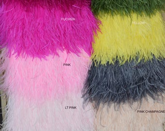 1 yard of Ostrich Feather Fringe trim 10-15 cm (4-6 inch), white, fuchsia, beige, black, mint, grey, pink, champagne, red, navy, plum, mauve