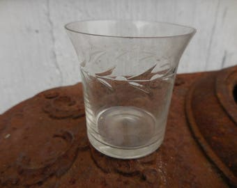 Vintage Clear Small 1930s to 1940s Etched Single Glass/Cup Depression Sweet Little Retro Tea Light Holder Flared Rim