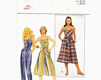 Butterick 4359 Szs 6-8-10 Misses Summer Dress, Culotte Dress And Jumpsuit With Shoulder Straps UNCUT