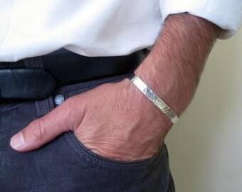 Sterling silver mens cuff, Hammered cuff bracelet, Mens jewelry
