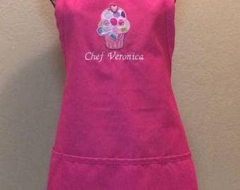 Embroidered Women's Kitchen Apron Personalized Bakery Cupcake