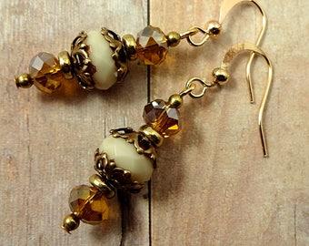 Vintage Style Earrings, Cream Earrings, Elegant Earrings, Feminine Earrings, Neutral Earrings, Bohemian Earrings, Antique Brass Jewelry