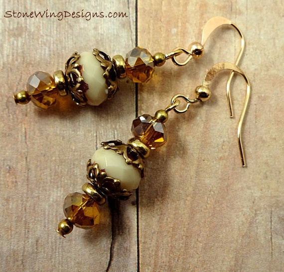 Cream Czech Glass and Antique Brass Vintage Look Earrings