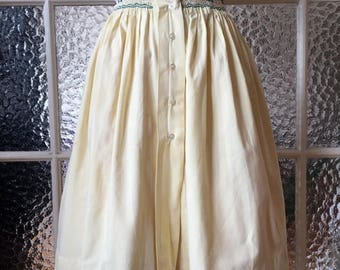 ON SALE Vintage 50s Yellow Full Skirt with smock S