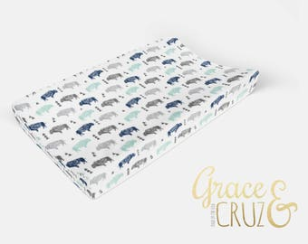 Buffalo Sketch in Navy Aqua and Grey  - Choose from Boppy Cover + Changing Pad Cover + Crib Sheet + Rail Cover + Crib Skirt or Blanket