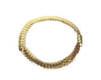 Vintage Gold Tone Metal Belt Circles Design Stretch Gold Colored Metal Belt Retro Women's Accessories