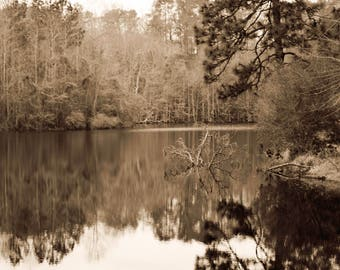 The Lake, Sepia, Landscape Photography, Fine Art Print
