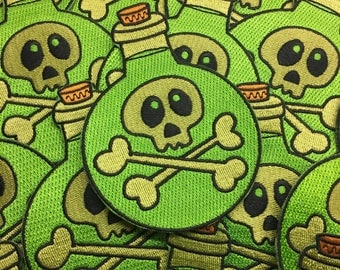 """Poison Potion Bottle - 4"""" embroidered patch - back to school - halloween"""