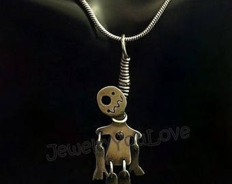 Sterling Silver Hanging Voodoo Doll Necklace
