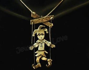 Sterling Silver Joker Marionette (puppet) Necklace    -   Jester